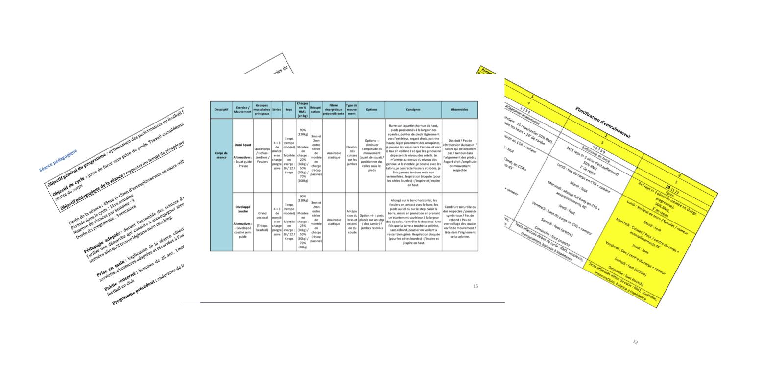 Dossier péda BPJEPS AGFF mention D cycles choisir séance retour