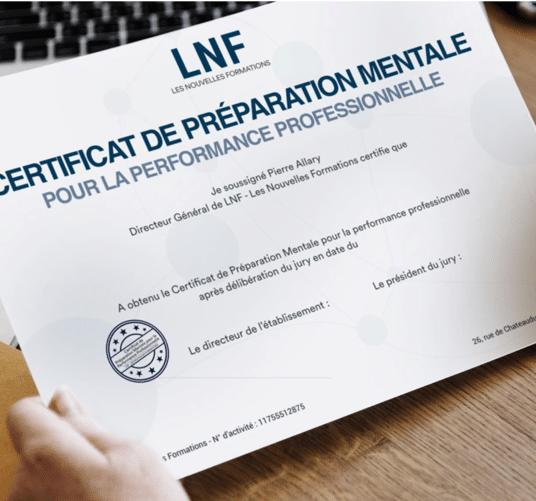 Formation préparation mentale LNF les nouvelles formations, certificat de préparation mentale pour la performance professionnelle;