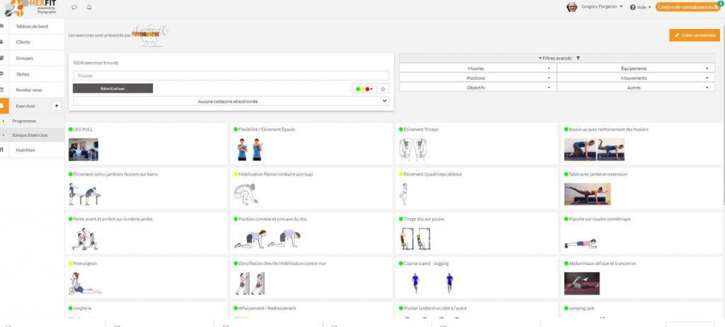 Hexfit, un logiciel pour coachs sportifs comprenant des milliers d'exercices de musculation